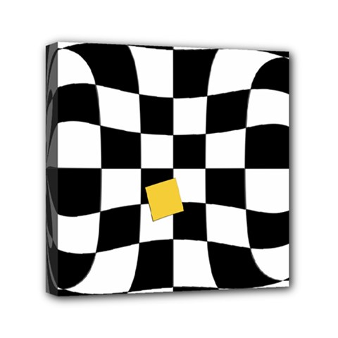 Dropout Yellow Black And White Distorted Check Mini Canvas 6  X 6  by designworld65