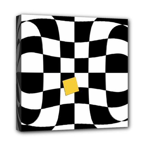 Dropout Yellow Black And White Distorted Check Mini Canvas 8  X 8  by designworld65