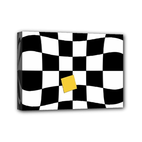 Dropout Yellow Black And White Distorted Check Mini Canvas 7  X 5  by designworld65