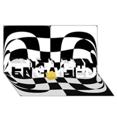 Dropout Yellow Black And White Distorted Check Engaged 3d Greeting Card (8x4) by designworld65