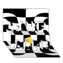 Dropout Yellow Black And White Distorted Check Take Care 3d Greeting Card (7x5) by designworld65