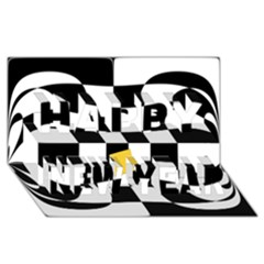 Dropout Yellow Black And White Distorted Check Happy New Year 3d Greeting Card (8x4) by designworld65