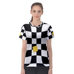 Dropout Yellow Black And White Distorted Check Women s Sport Mesh Tee by designworld65