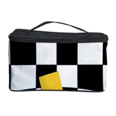 Dropout Yellow Black And White Distorted Check Cosmetic Storage Case by designworld65