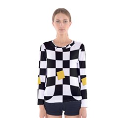 Dropout Yellow Black And White Distorted Check Women s Long Sleeve Tee by designworld65