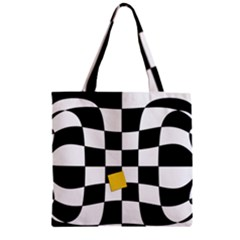 Dropout Yellow Black And White Distorted Check Zipper Grocery Tote Bag by designworld65