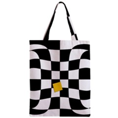 Dropout Yellow Black And White Distorted Check Zipper Classic Tote Bag by designworld65
