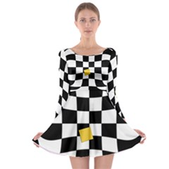 Dropout Yellow Black And White Distorted Check Long Sleeve Skater Dress by designworld65