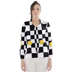 Dropout Yellow Black And White Distorted Check Wind Breaker (women) by designworld65