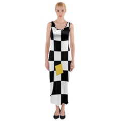Dropout Yellow Black And White Distorted Check Fitted Maxi Dress by designworld65