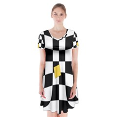 Dropout Yellow Black And White Distorted Check Short Sleeve V Neck Flare Dress by designworld65