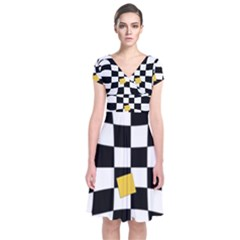 Dropout Yellow Black And White Distorted Check Short Sleeve Front Wrap Dress by designworld65