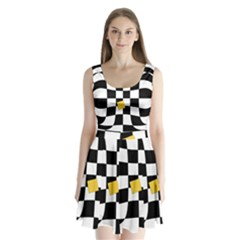 Dropout Yellow Black And White Distorted Check Split Back Mini Dress  by designworld65