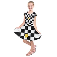 Dropout Yellow Black And White Distorted Check Kids  Short Sleeve Dress by designworld65