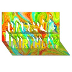Happy Multicolor Painting Happy Birthday 3d Greeting Card (8x4) by designworld65