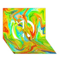 Happy Multicolor Painting Peace Sign 3d Greeting Card (7x5) by designworld65