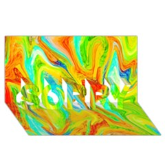 Happy Multicolor Painting Sorry 3d Greeting Card (8x4) by designworld65