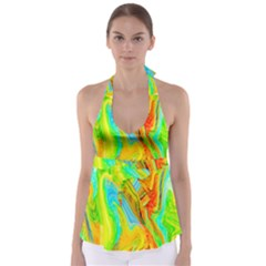 Happy Multicolor Painting Babydoll Tankini Top by designworld65