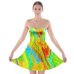 Happy Multicolor Painting Strapless Bra Top Dress by designworld65