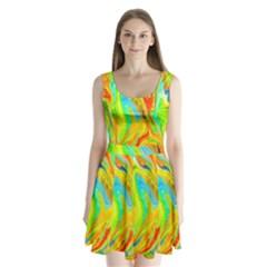Happy Multicolor Painting Split Back Mini Dress  by designworld65