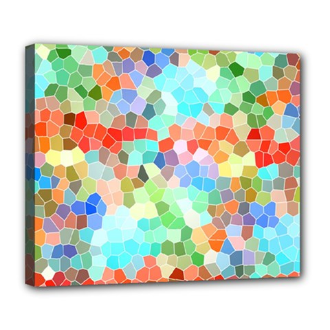 Colorful Mosaic  Deluxe Canvas 24  X 20   by designworld65