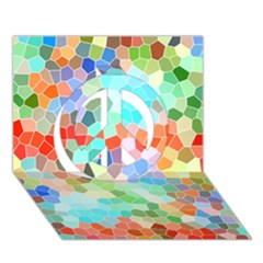 Colorful Mosaic  Peace Sign 3d Greeting Card (7x5) by designworld65