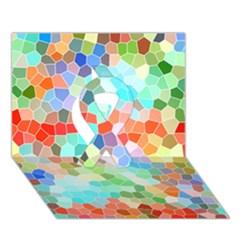 Colorful Mosaic  Ribbon 3d Greeting Card (7x5) by designworld65