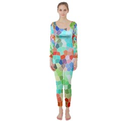 Colorful Mosaic  Long Sleeve Catsuit by designworld65