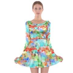 Colorful Mosaic  Long Sleeve Skater Dress by designworld65