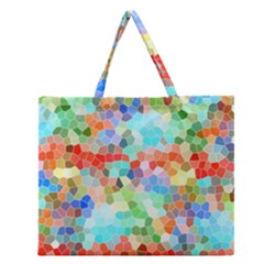 Colorful Mosaic  Zipper Large Tote Bag by designworld65