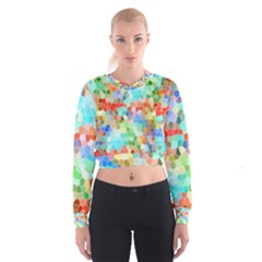 Colorful Mosaic  Women s Cropped Sweatshirt by designworld65