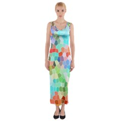 Colorful Mosaic  Fitted Maxi Dress by designworld65