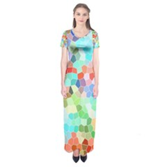 Colorful Mosaic  Short Sleeve Maxi Dress by designworld65