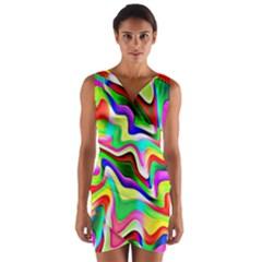 Irritation Colorful Dream Wrap Front Bodycon Dress by designworld65