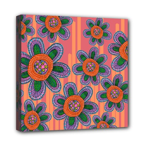 Colorful Floral Dream Mini Canvas 8  X 8  by DanaeStudio