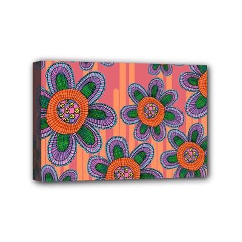 Colorful Floral Dream Mini Canvas 6  X 4  by DanaeStudio