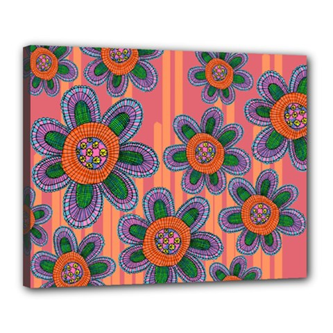 Colorful Floral Dream Canvas 20  X 16  by DanaeStudio