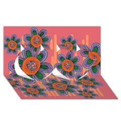 Colorful Floral Dream Twin Hearts 3d Greeting Card (8x4) by DanaeStudio