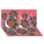 Colorful Floral Dream Twin Hearts 3D Greeting Card (8x4)