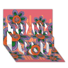 Colorful Floral Dream Thank You 3d Greeting Card (7x5) by DanaeStudio