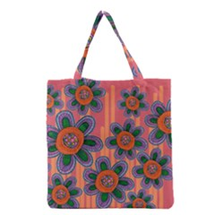 Colorful Floral Dream Grocery Tote Bag by DanaeStudio