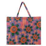 Colorful Floral Dream Zipper Large Tote Bag