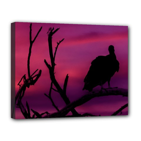 Vultures At Top Of Tree Silhouette Illustration Canvas 14  X 11  by dflcprints