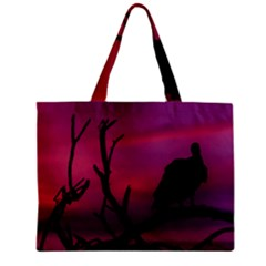 Vultures At Top Of Tree Silhouette Illustration Mini Tote Bag by dflcprints