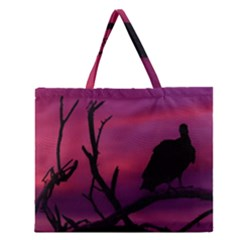 Vultures At Top Of Tree Silhouette Illustration Zipper Large Tote Bag by dflcprints