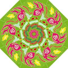 Green Organic Abstract Hook Handle Umbrellas (medium) by DanaeStudio