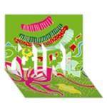 Green Organic Abstract GIRL 3D Greeting Card (7x5)