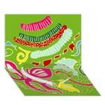 Green Organic Abstract Heart Bottom 3D Greeting Card (7x5)