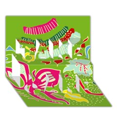 Green Organic Abstract Take Care 3d Greeting Card (7x5) by DanaeStudio