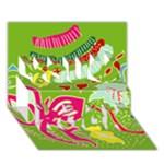 Green Organic Abstract You Rock 3D Greeting Card (7x5)